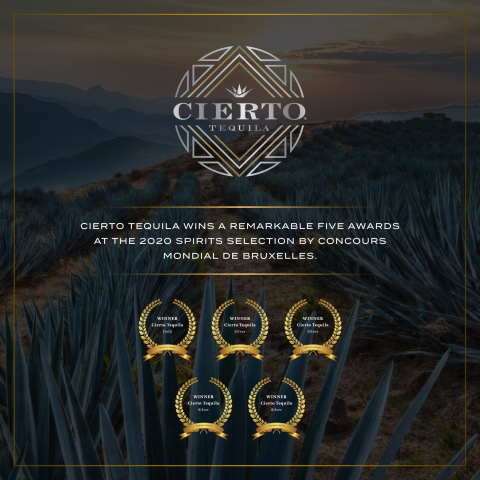 The Elevated Spirits Company is pleased to announce that Cierto Tequila was honored with an unmatched five (5) medals at the 2020 Spirits Selection by Concours Mondial De Bruxelles.  (Graphic: Business Wire