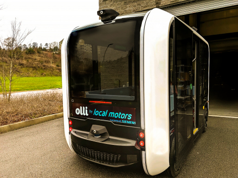 Velodyne Lidar, Inc. announced a multi-year sales agreement with Local Motors. Local Motors uses Velodyne's lidar sensors to enable safe, reliable operation of Olli, the company's 3D-printed, electric, self-driving shuttle. (Photo: Local Motors)