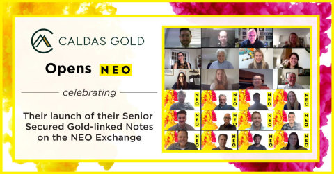 "Caldas Gold Corp, a Canadian gold mining company, participates in a digital market open to celebrate the launch of their senior secured gold-linked notes (the ""Notes"") on the NEO Exchange. The Notes are now available for trading under the symbol NEO:CGC.NT.U. (Photo: Business Wire)"