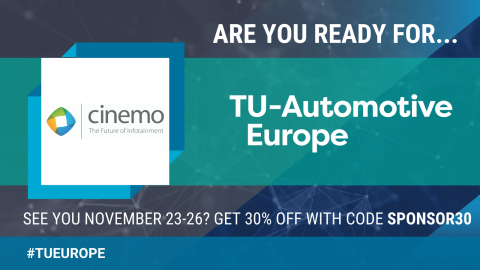 Cinemo attending TU Automotive Europe 2020 - We look forward to welcoming you at our virtual booth