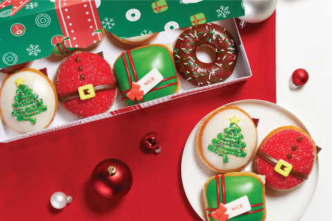 'Nicest Holiday Collection' includes new festive doughnuts beginning Nov. 27; parcel delivery drivers to receive free Original Glazed® dozens Nov. 30 (Photo: Business Wire)