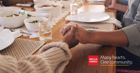 "As part of Wells Fargo's ""Many hearts. One community."" campaign, the company will work with Feeding America to help provide more food for people in need during the holidays. (Photo: Wells Fargo)"