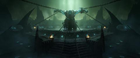 The malevolent Jailer in chains from the launch cinematic for World of Warcraft: Shadowlands (Graphic: Business Wire)