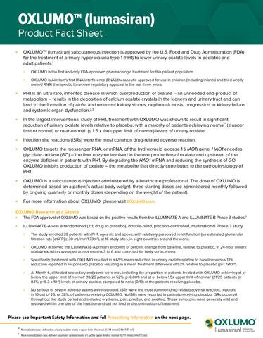 OXLUMO™ (lumasiran) product fact sheet (Graphic: Business Wire)