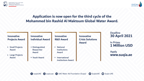Suqia UAE opens registration for 3rd cycle of the Mohammed bin Rashid Al Maktoum Global Water Award and adds a new category (Photo: AETOSWire)