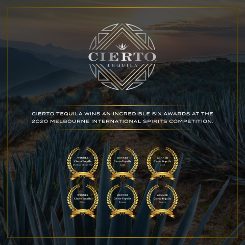 The Elevated Spirits Company is pleased to announce that Cierto Tequila was honored with an incredible six (6) medals at the 2020 Melbourne International Spirits Competition (MISC) (Graphic: Business Wire).