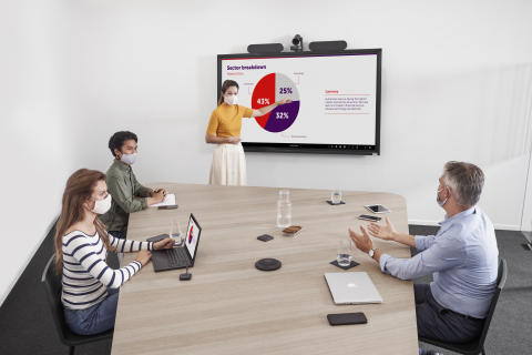 Barco ClickShare Conference enabling BYOM in the new normal of hybrid workplace (Photo: Business Wire)