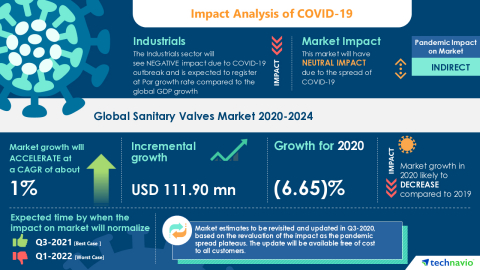 Technavio has announced its latest market research report titled Global Sanitary Valves Market 2020-2024 (Graphic: Business Wire).