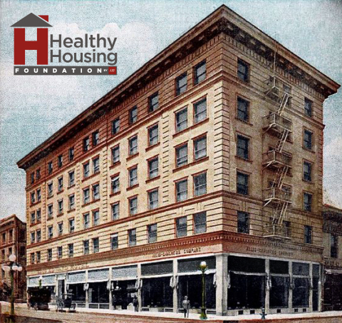 The 1906-era King Edward Hotel on L.A.'s Skid Row was repurposed by AHF and its Healthy Housing Foundation for use as housing for the homeless and extremely-low-income individuals. (Graphic: Business Wire)