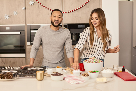 Chrissy Teigen and John Legend are mixing it up in the kitchen with Chex and their new favorite holiday recipe, Legendary Muddy Buddies. (Photo: Business Wire)