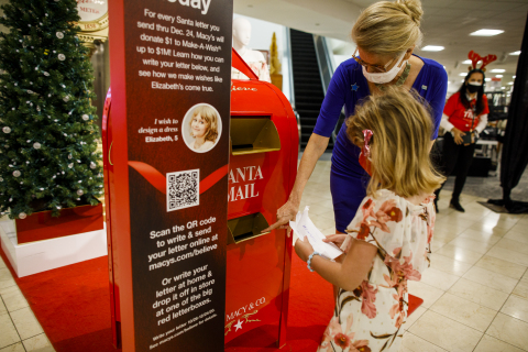 During National Believe Week, from Sunday, Nov. 29 through Saturday, Dec. 5, Macy's has pledged $2 for each letter to Santa collected (up to an extra $1 million above the existing $1 million campaign goal) to help children fighting critical illnesses' life-changing wishes come true. (Photo: Business Wire)