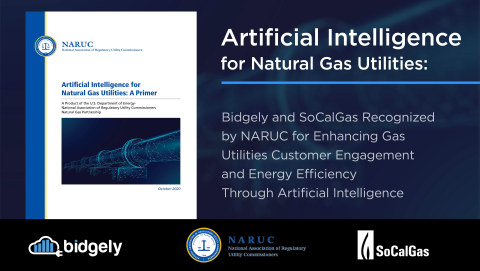 NARUC has distinguished Bidgely as an exemplary leader in AI solutions for gas utilities in its latest primer, Artificial Intelligence for Natural Gas Utilities, and cites a Bidgely and Southern California Gas program with over 286,000 therms savings in under four months. (Graphic: Business Wire)