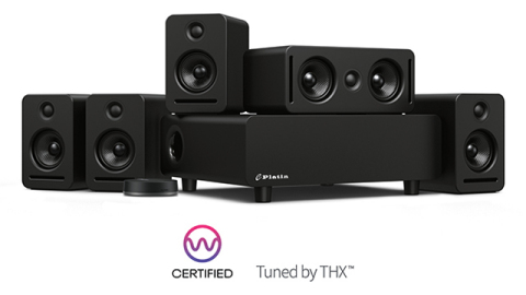 Wireless home cinema bundle complete with the WiSA SoundSend audio transmitter and the Tuned by THX™ Monaco 5.1 Immersive Wireless Home Audio System™ from Platin Audio (Photo: Business Wire)