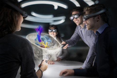 Mixed Reality Viewer technology turns almost any work area into a virtual, interactive space strengthening 3D visualization, interaction and understanding. (Image courtesy of Brainlab).