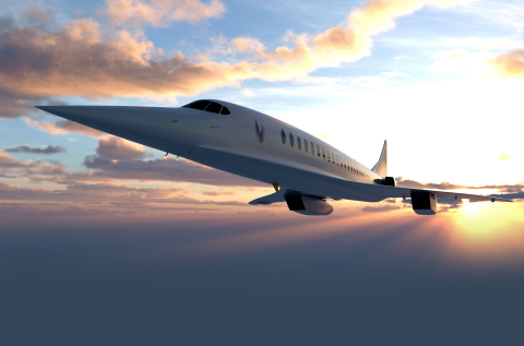 A rendering of Boom's Overture supersonic airliner, which will roll out in 2025 and fly to more than 500 transoceanic routes in half the time. (Photo: Business Wire)