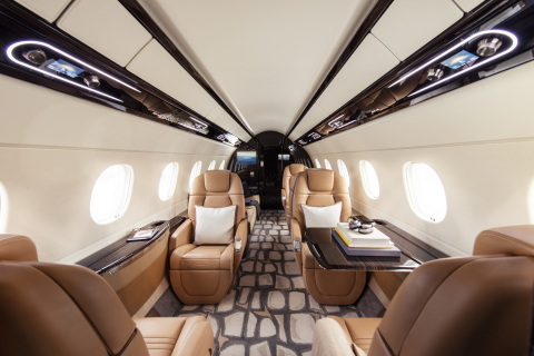 Interior of a Flexjet Embraer Praetor 600 super midsized aircraft part of the European-based Flexjet fleet. (Photo: Business Wire)