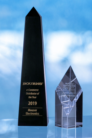 Mouser Electronics has been named 2019 North American e-Commerce Distributor of the Year by Bourns Inc. Bourns honored Mouser for achieving exceptional sales success and growth through the global distributor's innovative internet marketing programs. In addition to the prestigious e-commerce award, Bourns recognized Mouser for 20 Years as a Bourns Distributor, 2000–2020. (Photo: Business Wire)