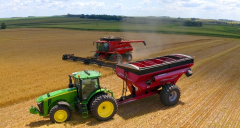Driverless Ag Technology: AutoCart® by Raven in use with a CNHi Combine (Photo: Business Wire).