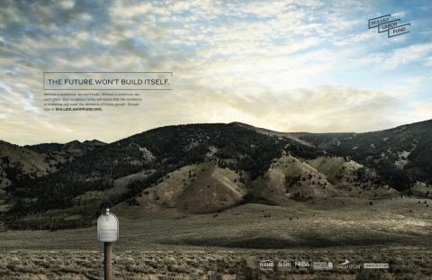 """The Future Won't Build Itself"" Lone Mailbox Print Ad (Graphic: Business Wire)"