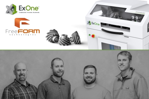 FreeFORM Technologies is a new contract manufacturer specializing in metal binder jet 3D printing. The company was founded this fall by a team of experienced engineers (left to right): Eric Wonderling, VP of Quality & Applications; Andy Reasinger, VP of Engineering; Chris Aiello, VP of Business Development; and Nate Higgins, President. (Photo: Business Wire)