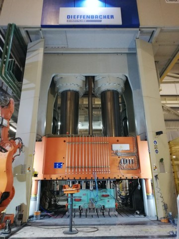 The new carbon fiber RTM press installed at the CSP facility in Palmela, Portugal, will soon be running the company's first commercial applications of this technology. (Photo: Business Wire)