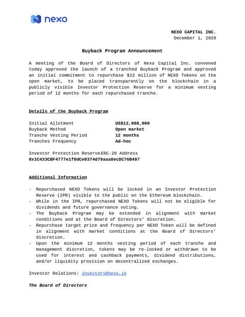 Buyback Program - Nexo Board of Directors Minutes of Meeting, December 1, 2020