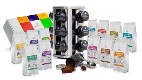 """The Café Infinity collection of products includes over 25 gourmet single-origin coffee varieties (the """"ingredients"""" for coffee blends), blending and storage accessories, and a full range of brewing devices and accessories. (Photo: Business Wire)"""