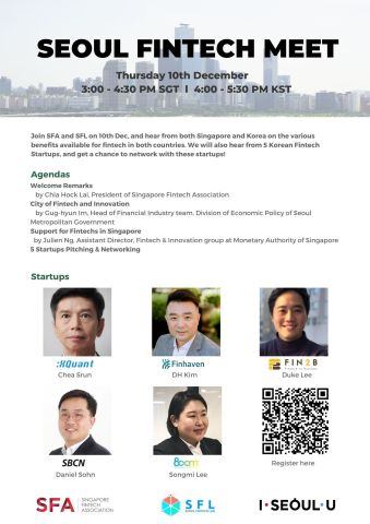 Seoul Fintech Lab holds the online 'Seoul Fintech Meet' with Singapore Fintech Association. The online meet-up focuses on networking and thus is held on an online platform that enables interactive communication. The online meet-up in Singapore will start at 4 p.m. on December 10 (KST). There are pitching session of SBCN, XQuant, Finhaven, Fin2B, and 800m, the five SFL startups participating and presentations 'Seoul, the City of Fintech and Innovation,' and 'Support for Fintechs in Singapore' to provide detailed information about supports necessary in entry to the market. (Graphic: Business Wire)