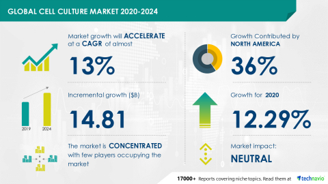 Technavio has announced its latest market research report titled Global Cell Culture Market 2020-2024 (Graphic: Business Wire)