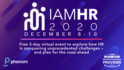 Phenom's free virtual event, IAMHR, will take place Dec. 8-10. (Graphic: Business Wire)