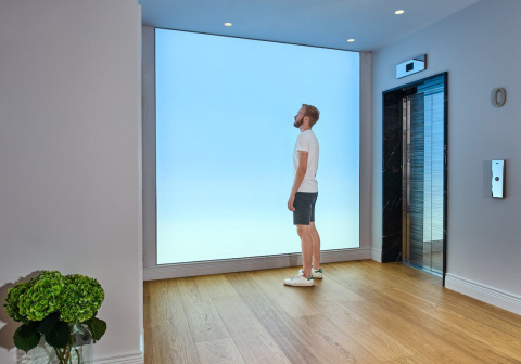 Looking into the horizon. Light Cognitive light wall at the spa of Hotel St George Helsinki. Photo by: Light Cognitive. (Photo: Business Wire)