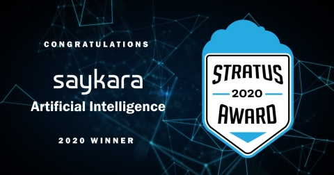 """Saykara has won a Stratus Award for its artificially intelligent (AI) voice assistant, named Kara, that automates clinical charting. """"With Kara, physicians no longer carry the burden of clinical charting into the exam room or home at night. They're able to give patients their undivided attention, forge trusting relationships and deliver high-quality, collaborative care -- all while regaining work-life balance,"""" says Dr. Graham Hughes, the company's president and chief medical officer. (Graphic: Business Wire)"""