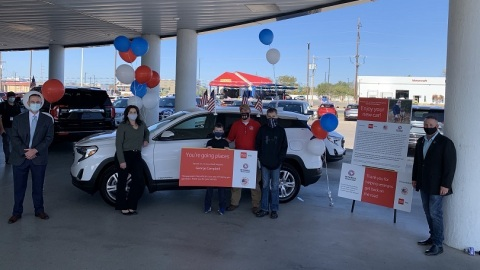 In San Angelo, Texas, Mitchell Buick-GMC and Wells Fargo team up to sponsor the donation of a payment-free vehicle to retired U.S. Air Force Staff Sergeant George Campbell and his family through Military Warriors Support Foundation's Transportation4Heroes program. (Photo: Wells Fargo)
