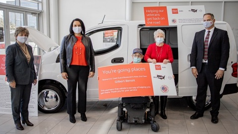 To mark the end of National Veterans and Military Families Month, Wells Fargo, Courtesy Nissan and Military Warriors Support Foundation awarded Vietnam Coast Guard veteran Gilbert Benoit with a payment-free 2020 Nissan van to thank him for his service. (Photo: Wells Fargo)