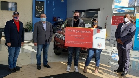 In honor National Veterans and Military Families Month, Wells Fargo, Honda of Hackettstown and Military Warriors Support Foundation sponsored a payment-free vehicle to retired U.S. Navy Hospital Corpsman Second Class Clint Haskell and his family. (Photo: Wells Fargo)