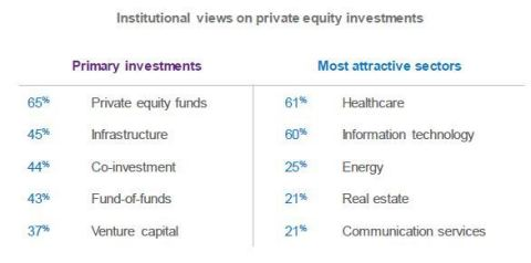 Institutional views on private equity investments (Graphic: Business Wire)
