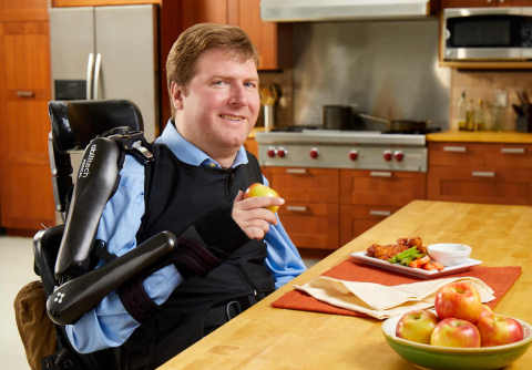 More than a million people in the U.S. rely on others to complete simple tasks such as brushing teeth, eating, and opening doors, because of neuromuscular disorders caused by Muscular Dystrophy, Multiple Sclerosis, Spinal Cord Injury, and other conditions. Now many of these people will be able to perform these everyday activities themselves with the use of a new assistive technology product, the Abilitech™ Assist, designed to help people live more independently. The Assist facilitates independent control of the arms by supporting and assisting both the shoulder and elbow for people with minimal strength. Software customizes the spring tension to lift objects such as a fork, phone, or water bottle, supporting items that weigh up to 12 ounces. (Photo: Business Wire)