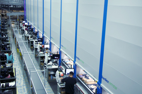 Mouser employees operate 55 vertical lift modules (VLMs), the most at any company in all of North America. Photo from 2019. (Photo: Business Wire)