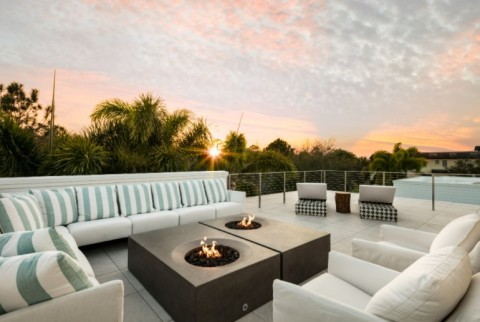 Kindred Fire Bowls feature a patent-pending brass burner system that uses half the fuel of conventional fire rings, yet produces higher flames and a brighter appearance. (Photo: Boral North America)