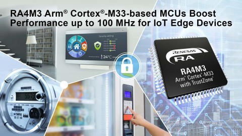 RA4M3 Arm Cortex-M33-based MCUs boost performance up to 100 MHz for IoT edge devices (Graphic: Business Wire)
