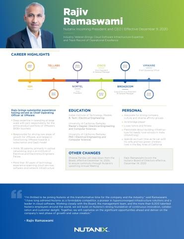 Nutanix President and CEO - Rajiv Ramaswami (Graphic: Business Wire)