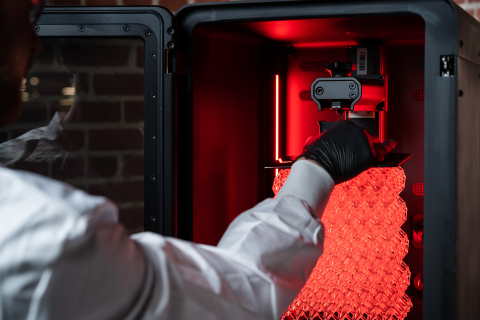 Origin One leverages unique P3 technology that precisely orchestrates light, temperature, and other conditions, optimizing prints in real-time for the best possible results. (Photo: Business Wire)