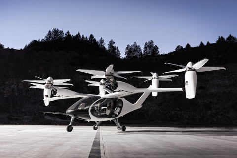 The Joby Aviation eVTOL aircraft is powered by six electric motors and is designed to carry one pilot and four riders at speeds up to 200mph. Photo credit: Joby Aviation