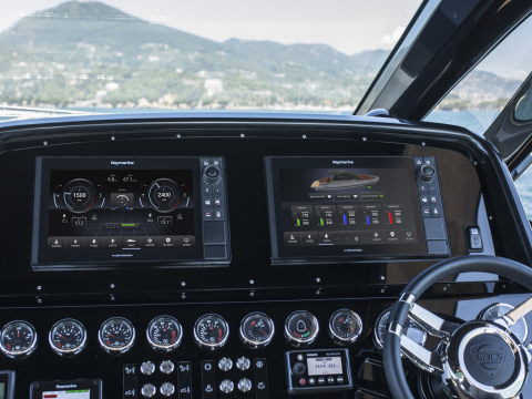 Raymarine YachtSense technology brings home automation-like capabilities to luxury boats by replacing physical switches with touch screens controls integrated into Raymarine's Axiom marine navigation systems. (Photo: Business Wire)