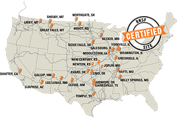 BNSF Certified Site Locations (Graphic: Business Wire)
