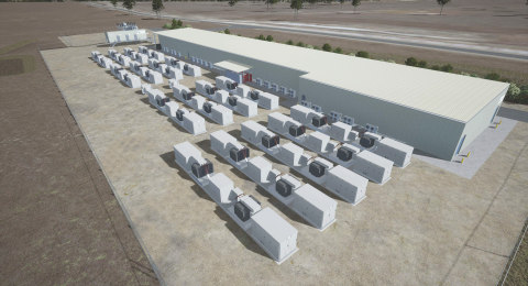 (Photo Credit: Vena Energy — artist rendering of Wandoan South BESS) To mitigate harsh weather extremes at the Wandoan South site, Doosan GridTech's 100MW BESS for Vena Energy-Australia will house over 1500 battery racks in a climate-controlled building.