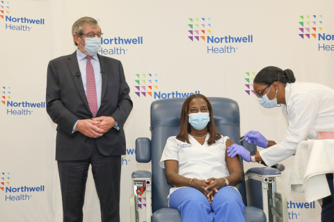 From left: Northwell Health President and CEO Michael Dowling, Sandra Lindsay, RN; and Michelle Chester, DNP, at Long Island Jewish Medical Center. Credit Northwell Health.