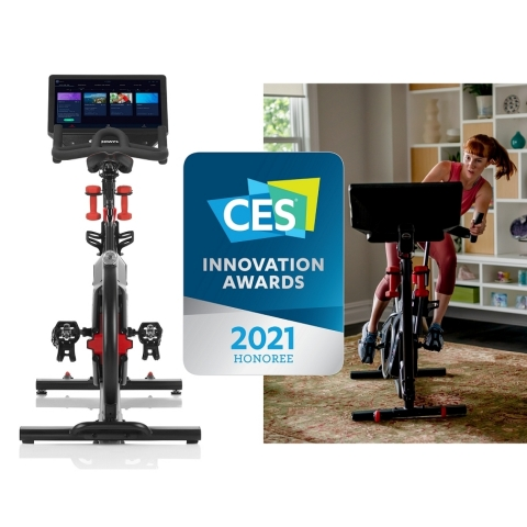 The Bowflex® VeloCore™ cycling bike was awarded the CES 2021 Innovation Award for redefining indoor cycling with an innovative and proprietary design that features leaning and stationary modes. (Photo: Business Wire)