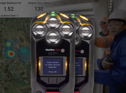 Blackline Safety G7c devices notify users when working in close proximity of coworkers (Photo: Business Wire)