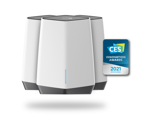 """Orbi Pro WiFi 6 (SXK80) Tri-band Mesh System is """"Office-in-a-Box"""" for the work from home and home-based businesses. The systems serve as router, Ethernet switches and high-performance WiFi 6 access points. (Graphic: Business Wire)"""